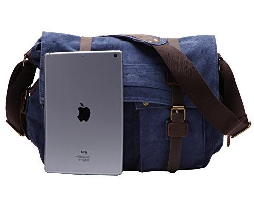 Berchirly Retro Leather Shoulder Fits Laptop