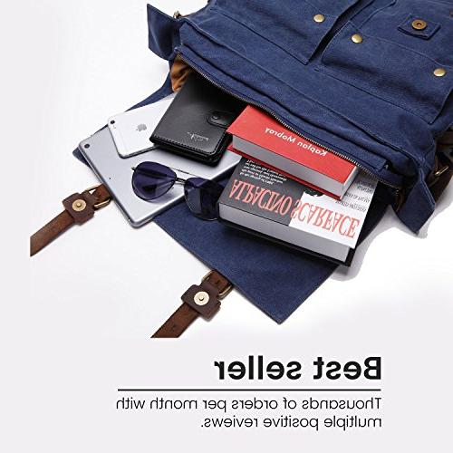 "Berchirly Leather Messenger Bag Fits 17.3"""