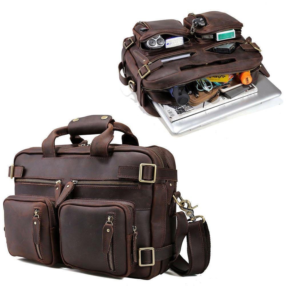 "Retro Genuine Leather 14"" Laptop Briefcase Messenger Shoulde"