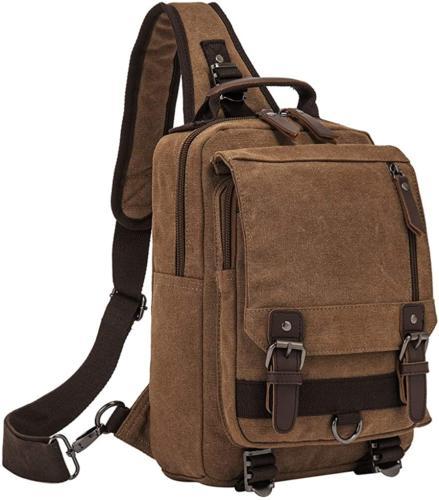Retro Messenger Canvas Shoulder Backpack One Travel Rucksack