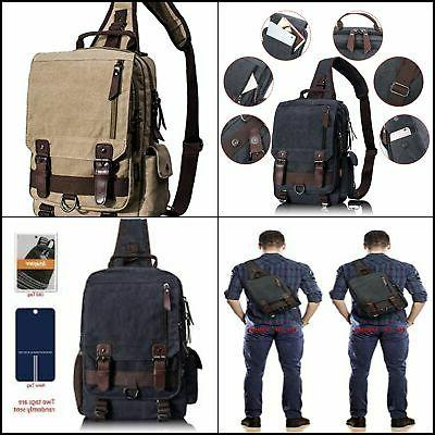 Leaper Retro Messenger Bag Canvas Shoulder Backpack Travel R