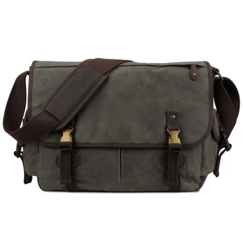 S-ZONE 15.6 Inch Messenger Bag for Men Canvas Leather Laptop