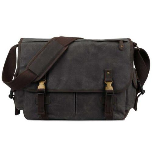 S-ZONE 15.6 Inch Messenger Bag for Men Canvas Laptop Busines