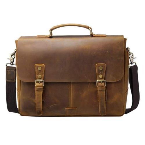 "S-ZONE Men's Crazy Horse Leather 15.6"" Laptop Briefcase Mess"