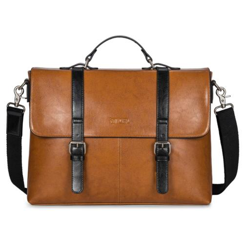 S-ZONE Messenger Bag Leather Briefcase for Men Computer Tote
