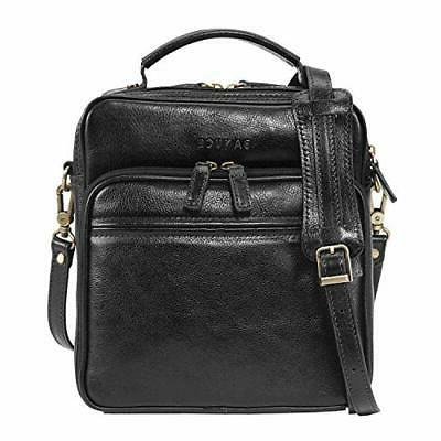 small black full grains italian leather messenger