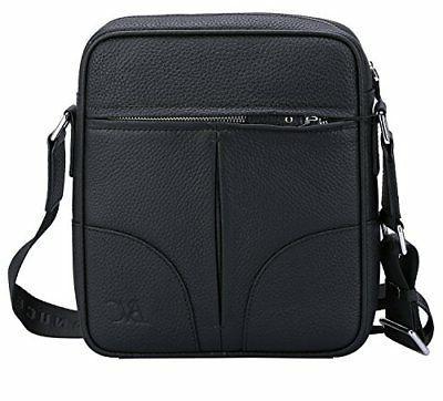 Banuce Small Black Genuine Leather Messenger Bag for Men Sho