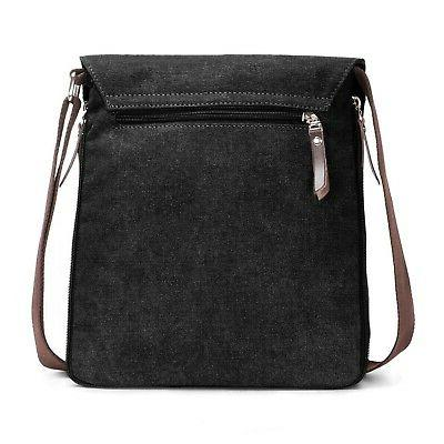 Berchirly Small Canvas+Leather Messenger Cross bag Pack