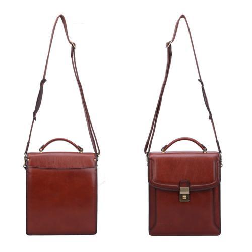 Banuce Grain Italian Leather Messenger Bag for Men Vertical