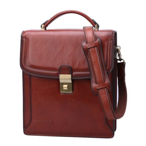 Banuce Small Vintage Full Grain Italian Leather Messenger Ba