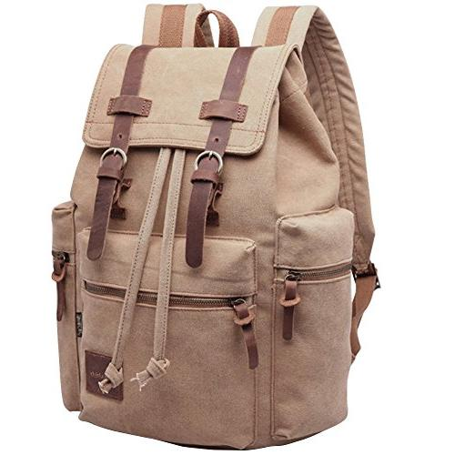 Berchirly Vintage Leather Backpack Laptop Backpacks Unisex Casual Rucksack Bookbag Bag