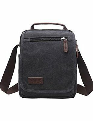 Mygreen Unisex Black Small Canvas Vertical Shoulder Messenge