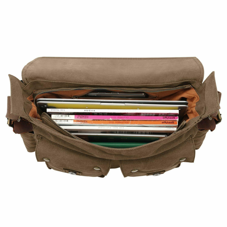 Kattee Canvas Shoulder Messenger Bag Leather Strap
