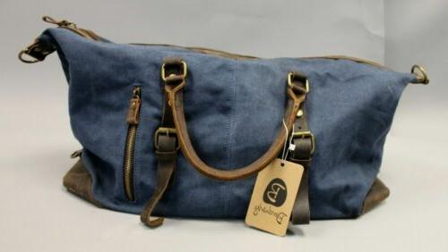 unisex distressed leather canvas travel duffel bag