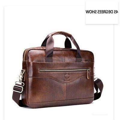 US Men Genuine Leather Briefcase Handbag Business Messenger Bag