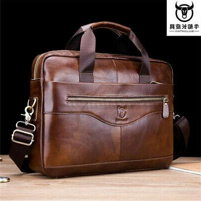 us men genuine leather briefcase laptop handbag