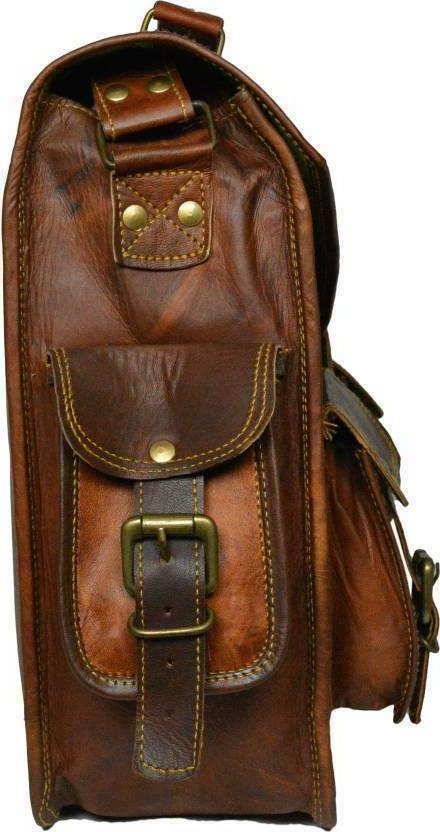 US Mens Brown Leather Business Shoulder Bag