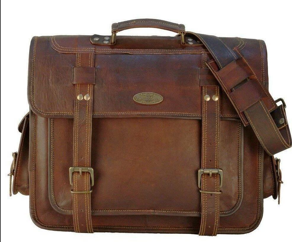 USA Men Briefcase Leather Business Shoulder Bag Messenger Sa