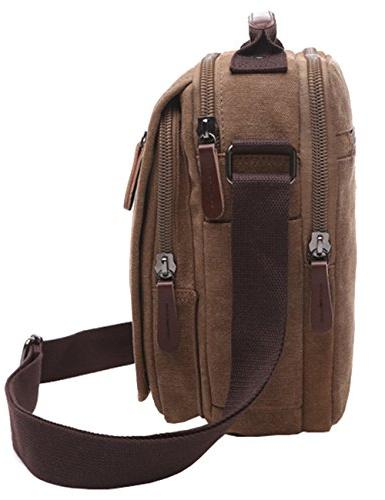 Vertical Canvas Mygreen Unisex leather Shoulder Bag Satchel Bag Travel