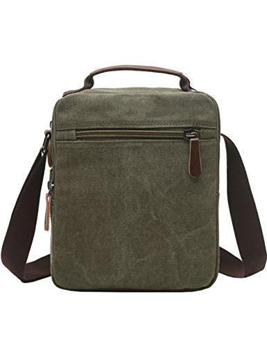 Vertical Canvas Mygreen Unisex leather Shoulder Bag Crossbody Travel and School