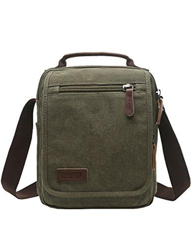 vertical canvas messenger bag unisex casual leather