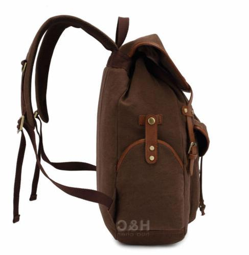 Vintage Backpack Outdoor Daypack Laptop Shoulder