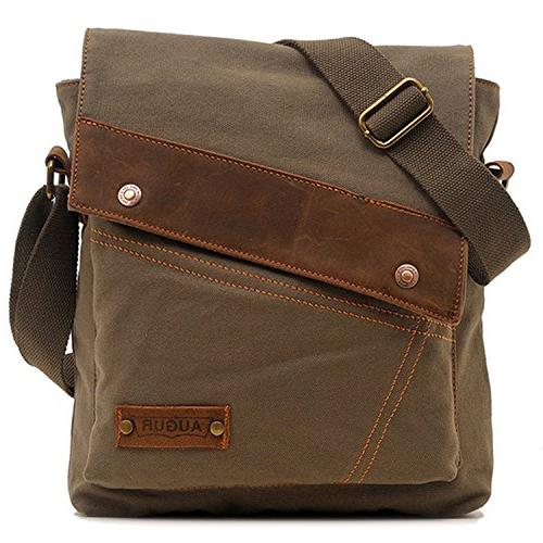 vintage canvas genuine leather messenger