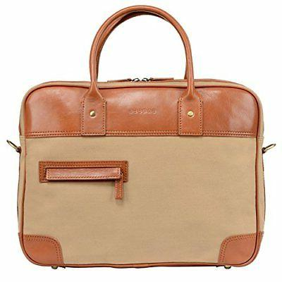 vintage canvas leather laptop briefcase for men
