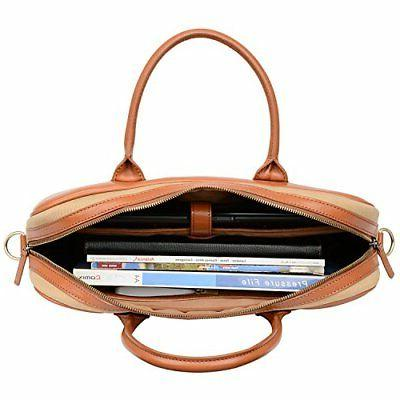 Banuce Canvas Leather Laptop Briefcase for Messenger Bag