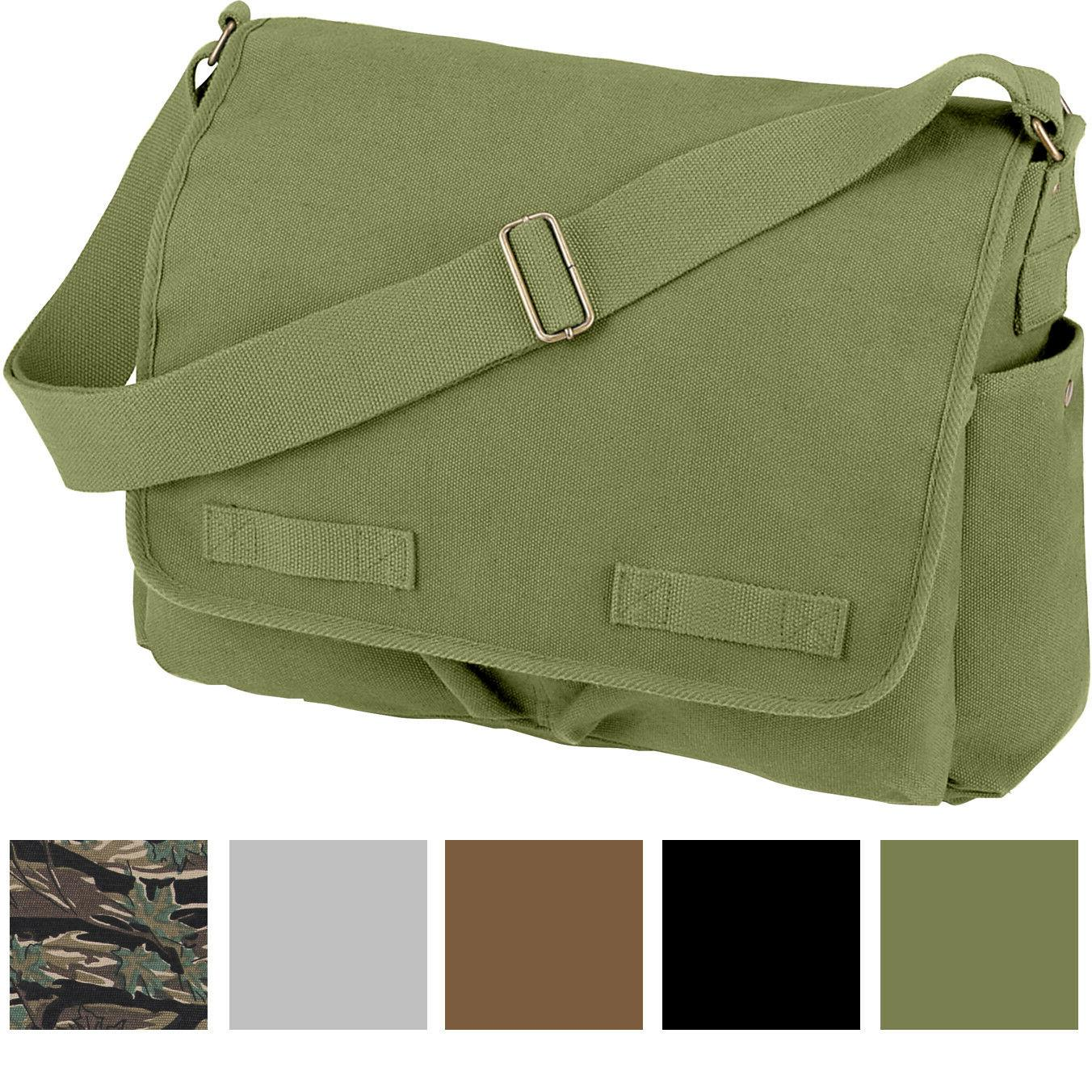 Vintage Canvas Messenger Bag Heavyweight Military Shoulder S