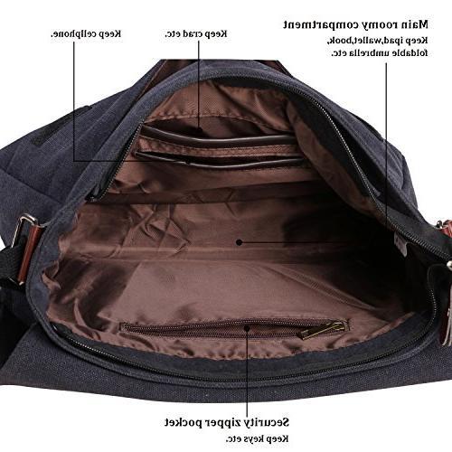 """Vintage Canvas Satchel Messenger Bag Shoulder 13.5"""" Laptop Bags"""