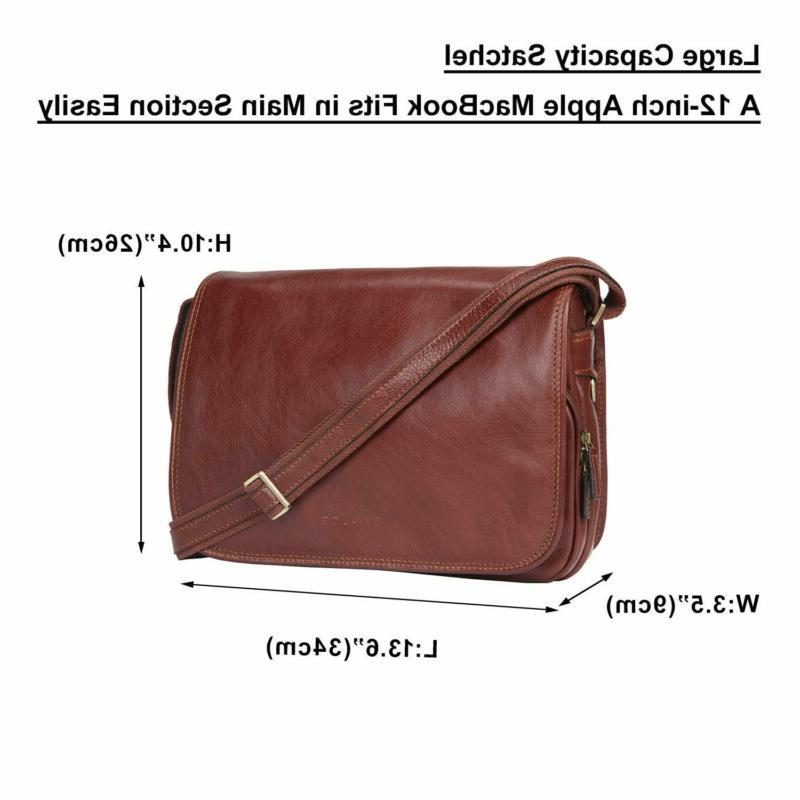 Banuce Vintage Italian Leather Messenger Bag for Men Women Sh