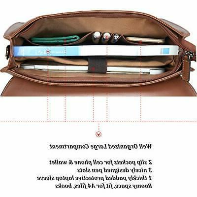 Banuce Vintage Messenger Bag Laptop Briefcase for