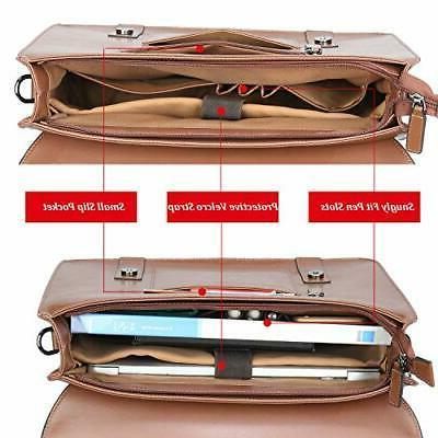 Banuce Genuine Leather Messenger Bag 13 Laptop Briefcase for