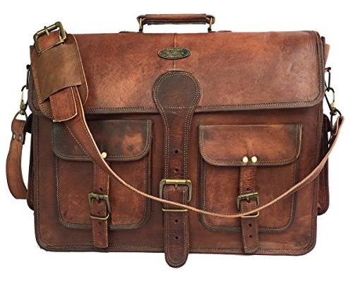DHK Handmade Leather Computer Satchel School distressed Bag