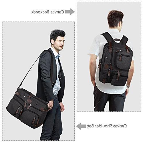 15.6 Inch 3-Way Convertible Laptop Backpack Briefcase Messenger Shoulder Bag ...