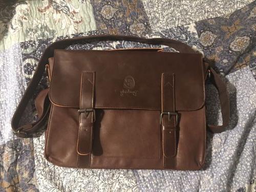 vintage leather briefcase pu leather shoulder messenger