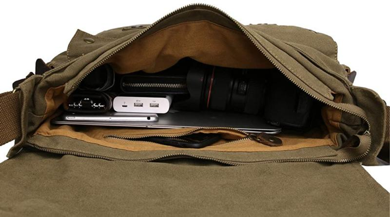 Sechunk Vintage Leather Laptop Messenger Bags Medium