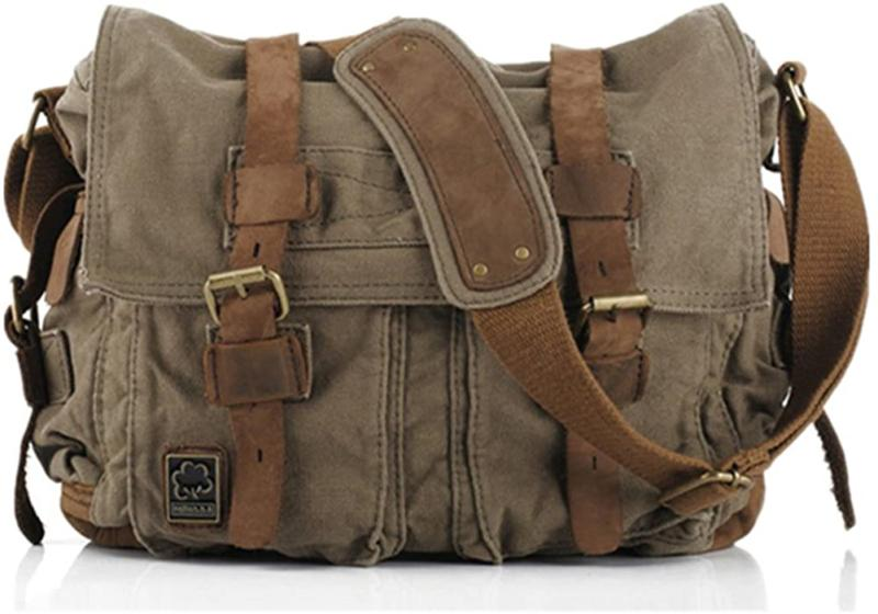 Sechunk Vintage Leather Canvas Laptop Bag Messenger Bags Med