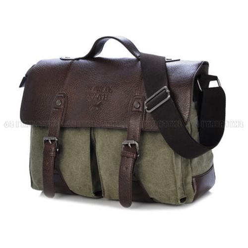 """Vintage Leather Handbag Men Briefcase 14"""" Laptop Messenger S"""