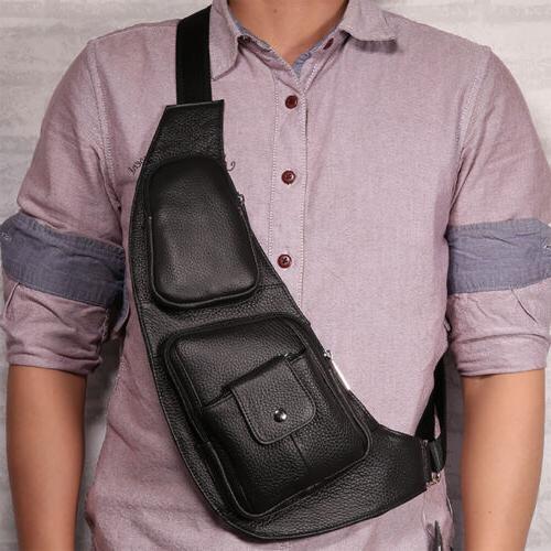 Vintage Men Genuine Leather Travel Casual Shoulder Messenger