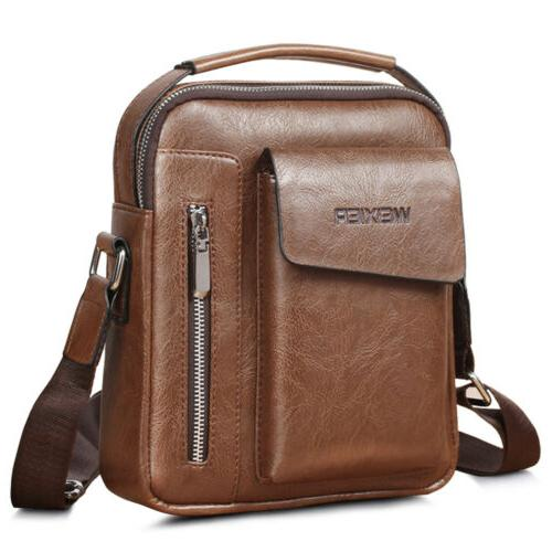 Men's Leather Handbag Messenger Bag Cross-body Tote Briefcas