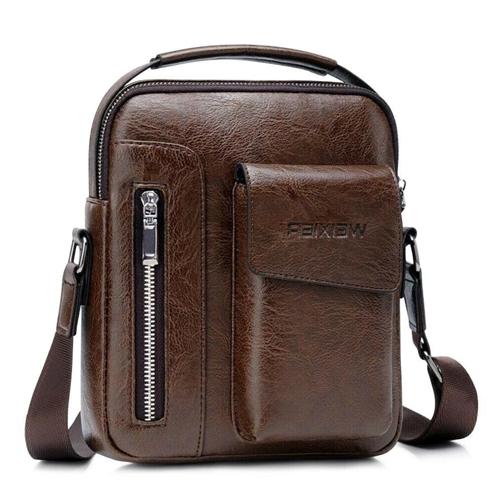 vintage men pu leather casual messenger bag