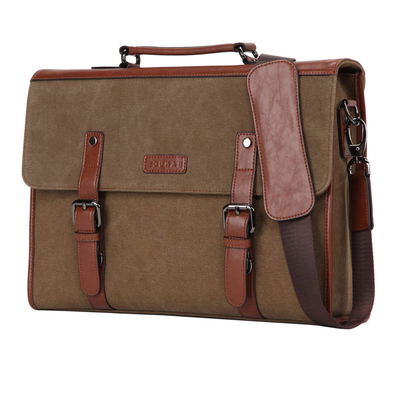 vintage mens canvas briefcase messenger