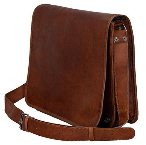 Fits Laptop Up To 11 Inches TUZECH Pure Leather Modern Styled Brown Stylish Handbag Satchel Bag Leather Bag