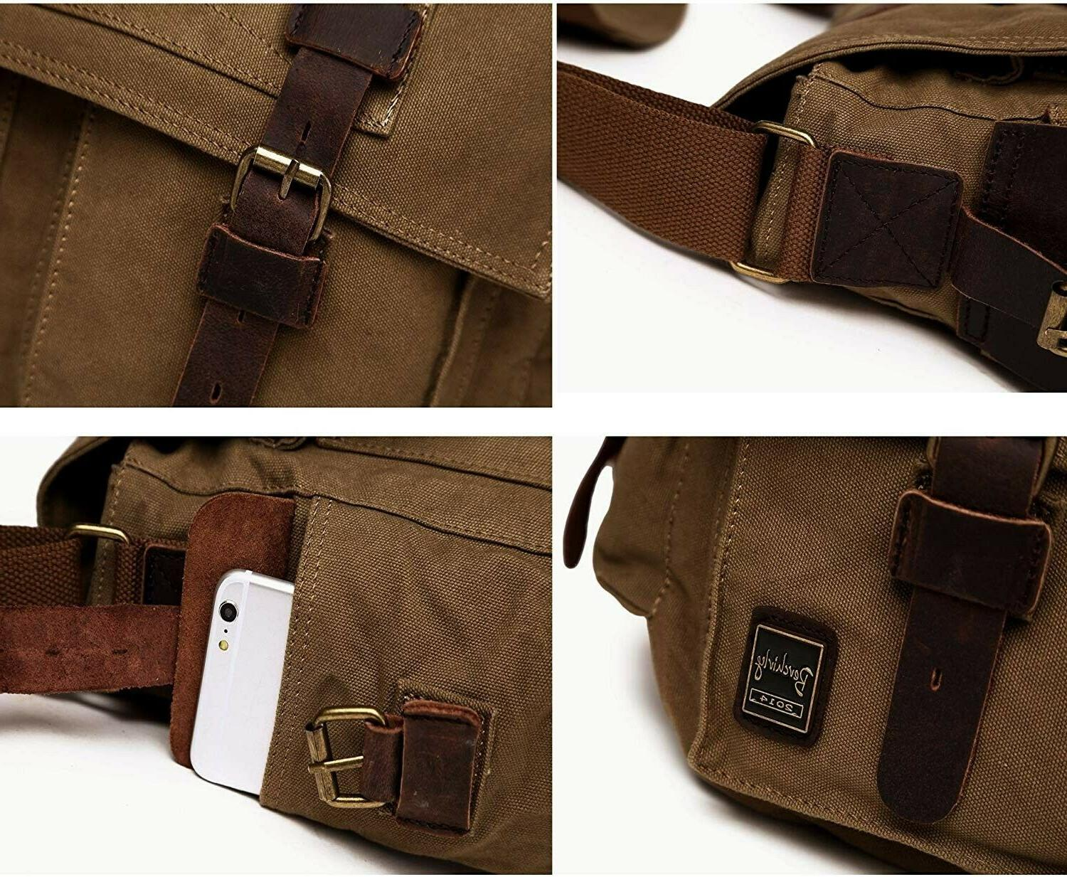 Berchirly Vintage Messenger Bag for Inch army