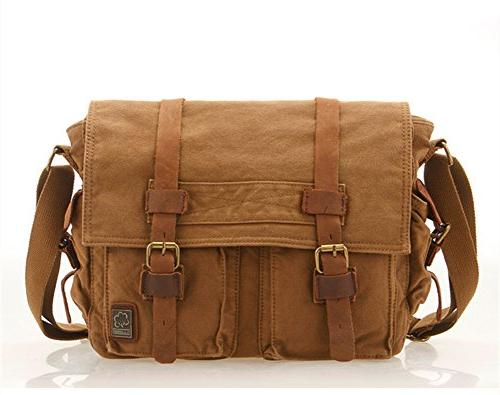 vintage military leather canvas laptop