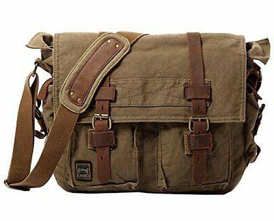 vintage military men canvas messenger bag xl