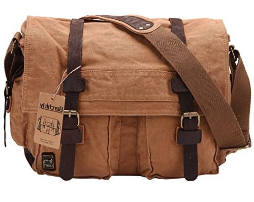 vintage military men canvas messenger