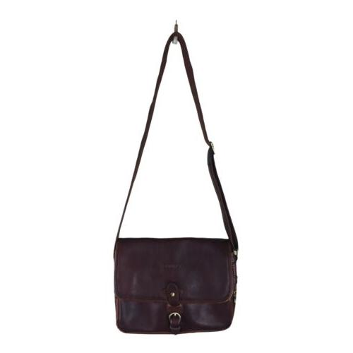 vintage small crossbody brown leather messenger bag
